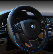 Blue Universal Genuine Leather Embossing Car Steering Wheel Cover Interior 38CM