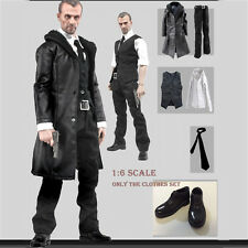 1/6 Scale Men's Black Leather Coat Suit Pants Shoes Full Set Windbreaker Clothes