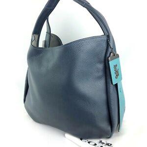 COACH $695 NWT Navy Marine Blue Pebble Leather 39 Hobo #86760 NEW!