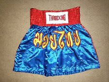 Thai Boxing Muay Thai Kickboxing Red Blue Youth Satin Shorts Trunks size Medium