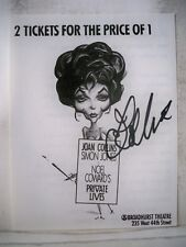 PRIVATE LIVES Ticket Voucher JOAN COLLINS Autographed Drawing NYC 1992
