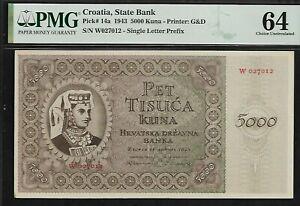 Croatia 5000 Kuna 1943 PMG 64 UNC Pick # 14a Printer G&D  State Bank