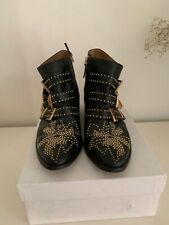 CHLOE Studded Ankle Boots Black Leather Gold Buckle Western 38.5/ 8.5