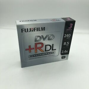 Fujifilm 3 Pack DVD+R DL 240min 8.5GB 2.4x Recordable Double Layer Disc Jewel A+