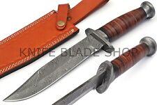 """DAMASCUS STEEL BLADE WWII FIGHTING BOWIE KNIFE,LEATHER HANDLE .,OVERALL 13""""INCH"""