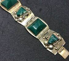 Vintage Mexican Silver 925 Imperial Jade Aztec Face Bracelet Cuff Signed JPP