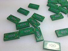 Lego City Minifig Money $100 DOLLAR BILL 1x2 Green Printed Tile - Cash (x20)