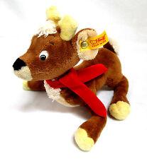 """Steiff Knopf Im Ohr Reindeer Olaf 024139 Laure Stern Brown & Tan Red Scarf 7.5""""L"""