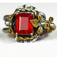 36.2CT Natural 925 Silver Mozambique Pigeon Blood Red Ruby Vintage Ring UCHB37