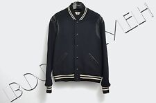 SAINT LAURENT 2390$ Authentic New Teddy Jacket In Navy Blue Wool & Black Leather