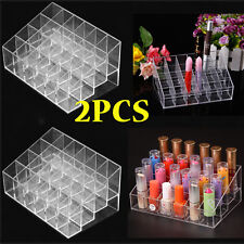 2X  24 Lipstick Makeup Stand Display Trapezoid Holder Case Cosmetic Organizer QC