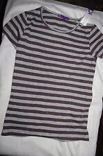 M&S Striped T Shirt Charcoal/Grey Short Sleeves Age 9 Years BNWT Tags Defaced