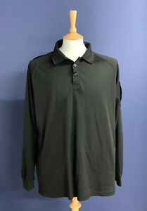 """British Police Force Black Tactical Polo Shirt. Size XL. 46"""" Chest. Long Sleeves"""