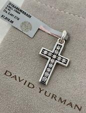 David Yurman Sterling Silver 25 Mm Chevron Cross White Diamonds No Chain 7p