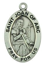 Saint St Joan of Arc Pray For Us Pendant 1 1/16 Inch Sterling Silver Medal