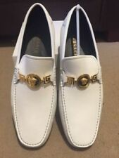 Versace Medusa White Leather Driving Shoes Loafers UK 6, UK 8