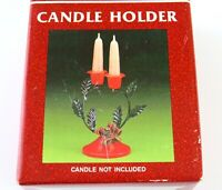 Vintage Metal Holiday Christmas Candle Holder Holly Berries for Two Candlesticks