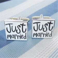 "W1554...ENAMELLED CUFFLINKS - ""JUST MARRIED"" - GIFT BAG - FREE UK P&P"