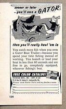 1958 Print Ad Gator Boat Trailers Peterson Bros Jacksonville,FL