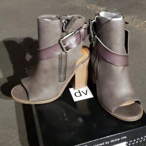 NEW! dv by Dolce Vita Teisha Buckle Peep-Toe Ankle Booties, Gray