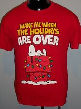 SNOOPY MEN'S T SHIRT M WAKE ME WHEN IT'S OVER PEANUTS BY SHULTZ RED CHRISTMAS