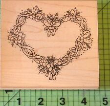 Holly & Berries Heart R151 rubber stamp by JRL Design