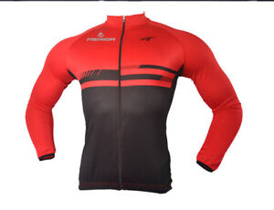 Merida Men's Long Sleeve Cycle Jersey Top Black-Red Bike Cycling Jersey Shirt
