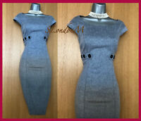 KAREN MILLEN UK 10 Classy Grey Ombre Soft Wool Office Work Wiggle Pencil Dress