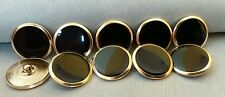 "Metal Buttons Black Enamel Gold approx 1"" UNUSED  Uncirculated Vintage Era"