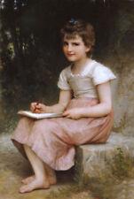 ZOPT406 little girl paint sitting on rock landscape oil painting art canvas