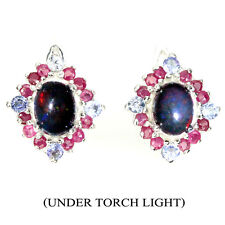 GENUINE GEM Oval Cabochon Black Opal Ruby Tanzanite 925 Sterling Silver Earrings
