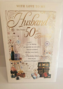 HUSBAND 50TH BIRTHDAY CARD STUNNING DETAIL BEAUTIFUL WORDS  LARGE MULTI PAGE