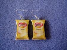 Lays Potato Chips Kitsch Dangle Polymer Clay Junk Food Earrings Hypo Allergenic