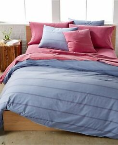 $240 Calvin Klein Washed Essentials Queen Duvet Set Grid Wisteria Plaid Blue