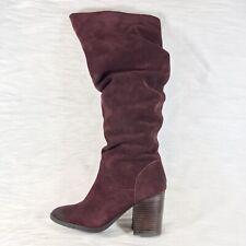 Steve Madden Savas Women's Slouch High Heel Boots Burgundy Size 8.5 M