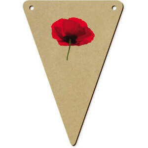 5 x 140mm 'Poppy' Wooden Bunting Flags (BN00052461)