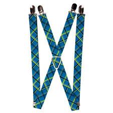 Blue Yellow Black Diagonal Plaid Pattern Suspenders