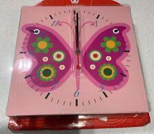 Girls Pink Butterfly Children's Wall Clock Nursery Bedroom Clock
