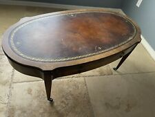 Weiman Antique English Regency Leather Top Coffee Table with drawer 5309