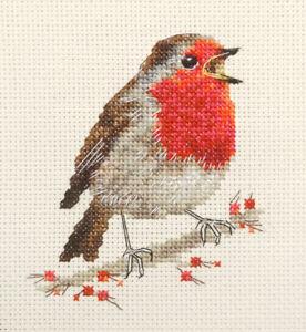 ROBIN REDBREAST, Christmas, Garden Bird Full cross stitch kit + materials *Fido