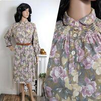 Vintage 70s Floral Rose Midi Smock Dress 12 14 40 42