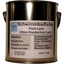 Schwimmbadfarbe, Pool-Lack, Chlor-Kautschuk Lack, Beckenlack, Adriablau, 3 Liter