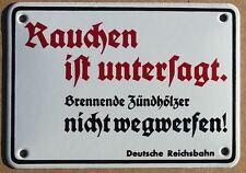 Rauchen ist untersagt - Emailschild Bahn Bundesbahn DB Email Emaille Schild
