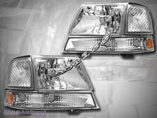 1998 1999 2000 FORD RANGER HEADLIGHT CHROME + PARKING BUMPER LIGHTS CLEAR SET
