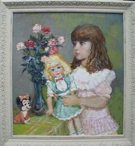"""""""Little Girl with Doll"""" by Michail Gratchev (1913-2003), Oil on Canvas"""