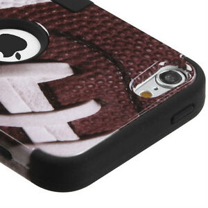 iPod Touch 5th 6th 7th Gen - Football Impact Armor Hard&Soft Rubber Hybrid Case