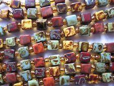 Vintage Deco Flapper Length Cube Agate glass Venetian Glass Beads Necklace