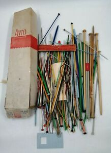 Vintage Mixed Sizes Metal & Plastic Crochet Hooks, Knitting Needles in Aero Box