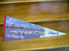 "Vintage 1980's Chicago Illinois 12"" x 30"" Harbor Pennant ""The Windy City""  HTF"