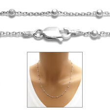 925 Sterling Silver Rhodium Faceted Bead Chain Necklace 2.5mm